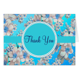 Pretty Teal Floral Bridal Shower Thank You Note Card