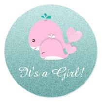 Pretty Teal Glitter Its a Girl Baby Shower sticker