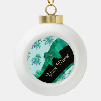 Pretty teal green vintage floral pattern ceramic ball christmas ornament