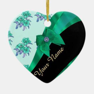 Pretty teal green vintage floral pattern ceramic ornament