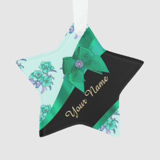 Pretty teal green  vintage floral pattern ornament