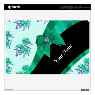 Pretty teal green  vintage floral pattern skin for the MacBook