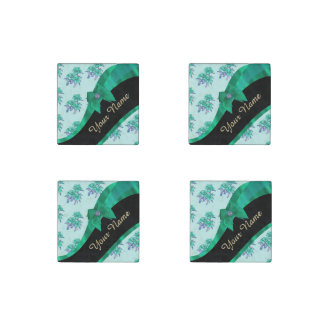 Pretty teal green  vintage floral pattern stone magnet