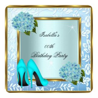 Pretty Teal Hydrangeas Floral High Heels Birthday Card