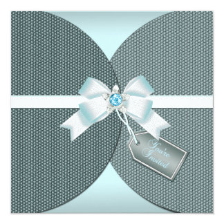 Pretty Teal Invite with Ribbon and Jeweled Bow