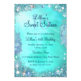 Pretty Teal Ocean Jewel Sweet 16 Birthday Invite