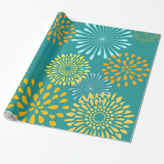 Pretty Teal Orange Flower Line Art Pattern Wrapping Paper