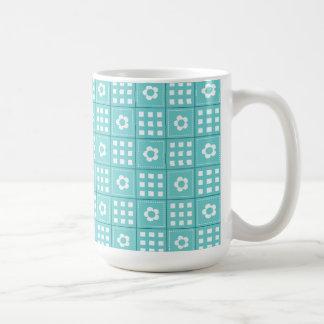 Pretty Teal Patchwork Quilt Pattern Coffee Mug