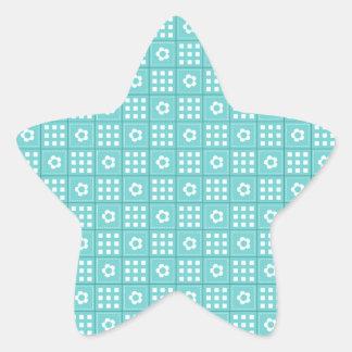 Pretty Teal Patchwork Quilt Pattern Star Sticker