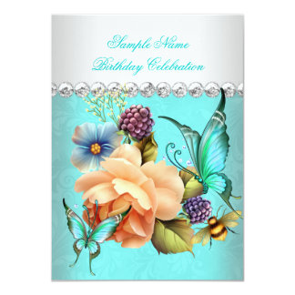 Pretty Teal Peach Roses Butterfly Birthday Party Card