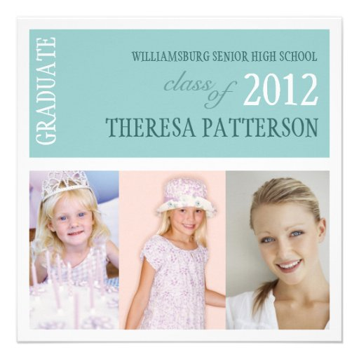 Pretty Teal Photo Collage Graduation Party Announcement