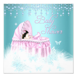Pretty Teal Pink Sparkle Butterfly Baby Shower Card