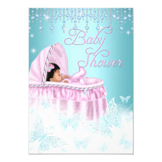 Pretty Teal Pink Sparkle Butterfly Baby Shower Eth Card