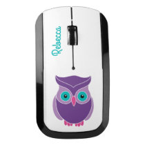 Pretty Teal Purple Cute Owl Personalized Kids Wireless Mouse