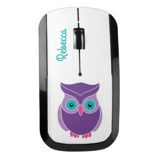 Pretty Teal Purple Cute Owl Personalized Kids Wireless Mouse