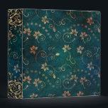 """Pretty Teal Rose Gold Floral Vintage Design Binder<br><div class=""""desc"""">.</div>"""