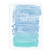 Pretty Teal Watercolor Baby Shower Invitations