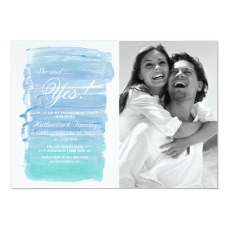 Pretty Teal Watercolor Engagement Announcements