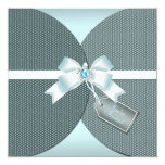 Pretty Teal Wedding Invite with Jeweled Bow