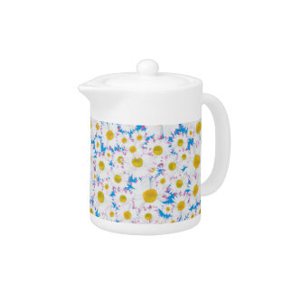 Pretty Teapot: Ditzy Daisies on Blue Teapot