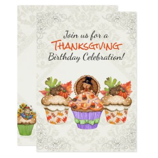 Pretty Thanksgiving Cupcakes Birthday Invitation