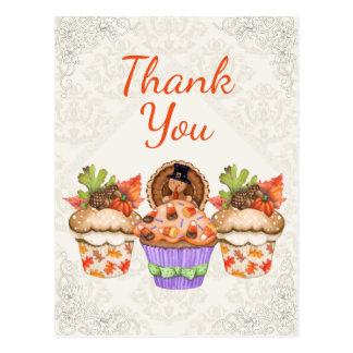 Pretty Thanksgiving Cupcakes Thank You Postcard