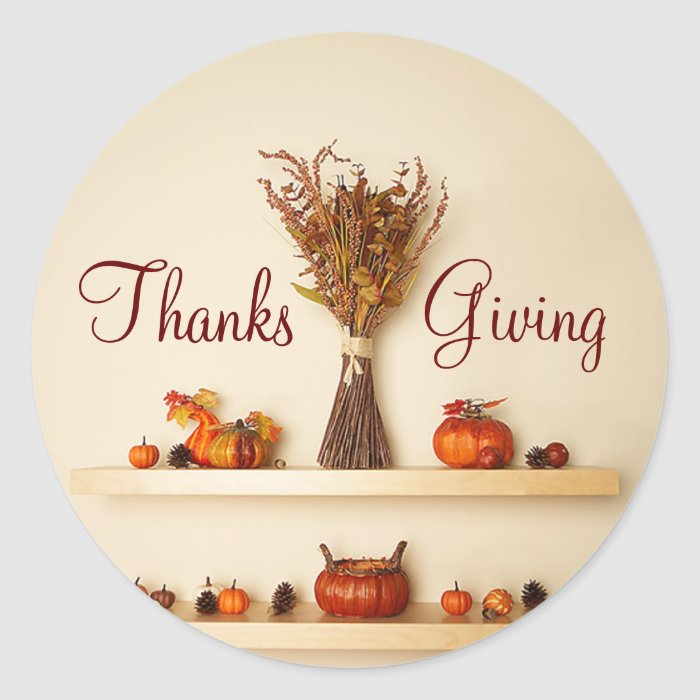 Pretty Thanksgiving Seasonal Decorations Classic Round Sticker