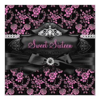 Pretty Tiara & Bow Pink Sweet 16 Invitation