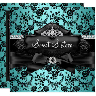 Pretty Tiara & Bow Teal Sweet 16 Invitation