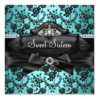 Pretty Tiara & Bow Teal Sweet 16 Invitation