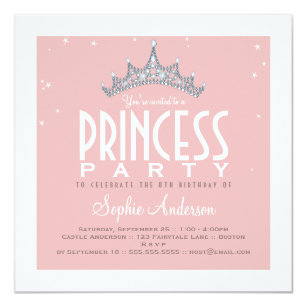 Princess party invitations announcements zazzle pretty tiara princess birthday party invitation filmwisefo