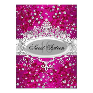 Pretty Tiara & Sparkle Flowers Pink Sweet 16 Card