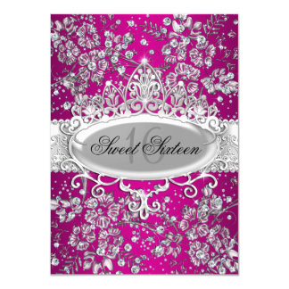 Pretty Tiara & Sparkle Flowers Pink Sweet 16 4.5x6.25 Paper Invitation Card