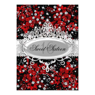 Pretty Tiara & Sparkle Flowers Red Sweet 16 4.5x6.25 Paper Invitation Card