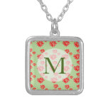 Pretty Tiny Orange Wildflower Pattern Monogram Silver Plated Necklace