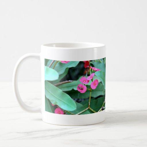 Pretty tiny pink flowers classic white coffee mug