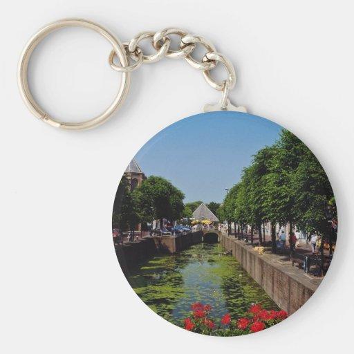 Pretty town on the River Lek, Netherlands fl Key Chain