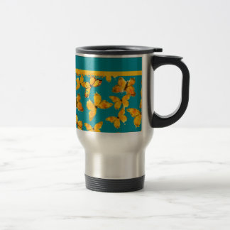 Pretty Travel Mug, Golden Butterflies on Sky Blue 15 Oz Stainless Steel Travel Mug