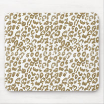 Pretty trendy faux gold glitter leopard print mouse pad