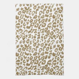 Pretty trendy faux gold glitter leopard print towel