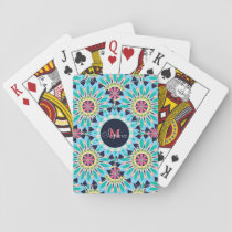 Pretty trendy floral pattern illustration playing cards