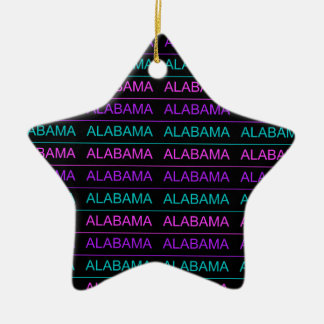 Pretty Tri-Colored Alabama Double-Sided Star Ceramic Christmas Ornament