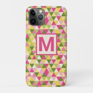 Pretty Triangle Geometric Pink Green Monogram Case-Mate iPhone Case