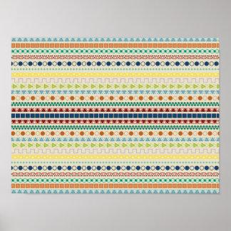Pretty Tribal Inspired Pattern Tan Background Print