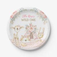 Pretty Tribal Woodland Animals Wild One Birthday Paper Plate