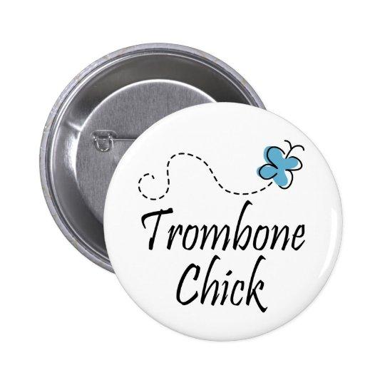 Pretty Trombone Chick Button