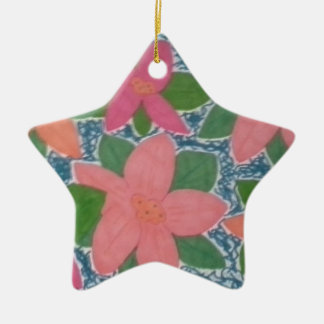 Pretty Tropical Flowers Hand-painted Pattern Ceramic Ornament