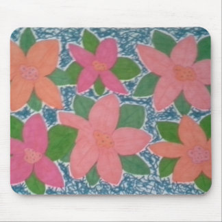 Pretty Tropical Flowers Hand-painted Pattern Mouse Pad