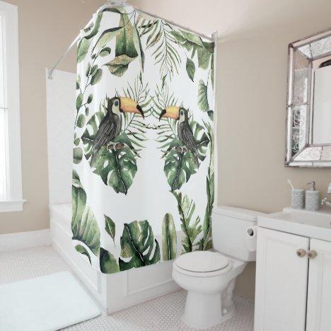 Pretty Tropical Jungle Toucan Bird Bath Shower Curtain