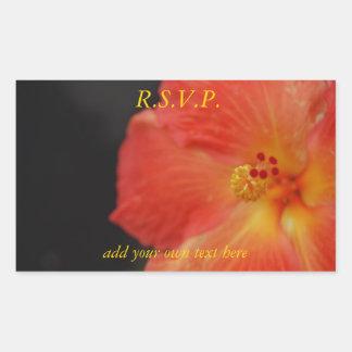 Pretty Tropical Party Flower RSVP Rectangular Sticker
